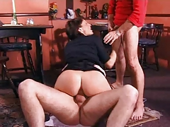 Horny housewife double fucked by two stiff dicks