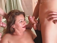 Italian Mature Satisfied By Two Young Guy