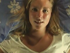 Petite Blonde Plays With Herself On Bed