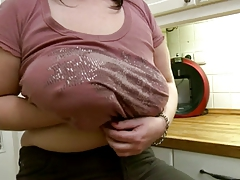 Chubby Mom Shows Her Body In Kitchen