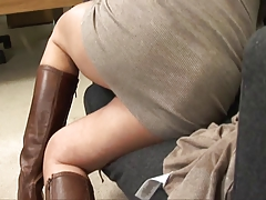 Milf in a cardigan fucked until a creampie