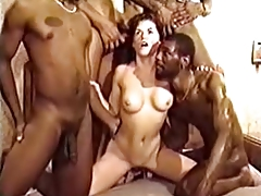 Brunette get repeatedly bred by a horde of blacks