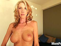 Horny Blonde Milf Swallows Cum
