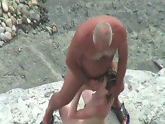 Old Man Fucks Young Girl Hard On A Beach