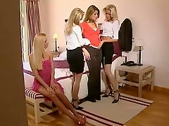 Girl Gets Body Worshipped By Three Stunning Blondes