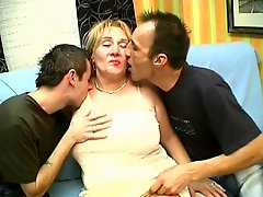 Thick Older Mother Gets Her Tits Sucked By Two Young Guys
