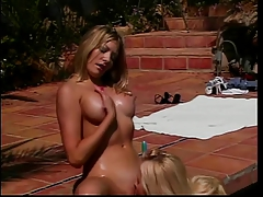 Cute Blonde Licks Her Friends Large Tits Then Fuck Her With Dildo