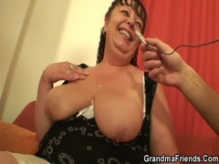 Busty Old Women Swallows Two Cocks