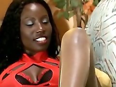 Booty Ebony In Pantyhose Rides White Rod
