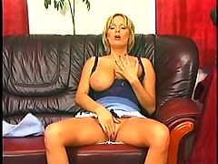 Blonde Mom With Perfect Jugs Pumped On A Leather Couch