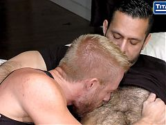 Blonde Bearded Hunk Takes Hairy Muscle Stud's Uncut Cock