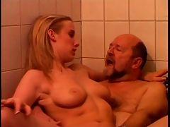 Young Blonde Teen Girl Sucking & Fucking Old Man