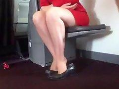 Candid Air Stewardess Nylon Legs Feet And Shoeplay