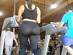 Big Booty Women Working Out On Treadmill