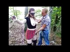 Tied And Blindfolded Amateur Babe Outdoor Facials