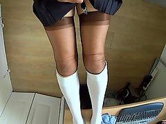 Crossdresser School Girl Pleated Skirt And Seockings
