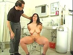 Dark Haired Hottie With Big Naturals Gets Her Pussy Teased