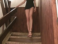 Hot College Girl Exposing Her Body On The Stairs