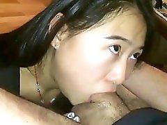 Asian Babe Deepthroating White Cock
