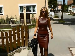 Ladys In Leather Skirt