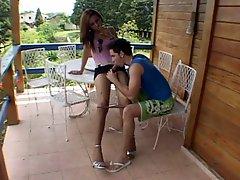 Miniskirt Tgirl Creams On Her Dude's Chest