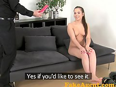 Fakeagent Shy Innocent Brunette Swallows Mouthful Of Jizz In Office