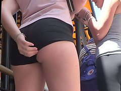 Tight Shorts Eating Up Her Ass