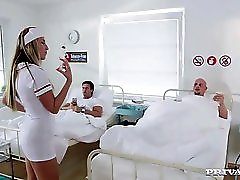 Naughty Nurse Jenny Simons Treats Two Patients