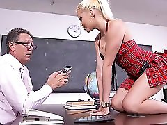 Big Titted Schoolgirl Takes Cock In Both Holes