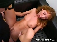 Redhead Amateur Milf Double Blowjob Anal And Double Facial