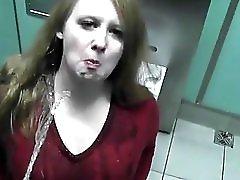 Redhead Drinking Piss