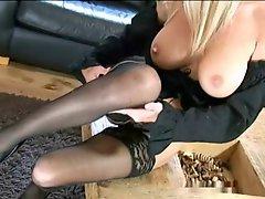 Saffy British Blond Teasing Solo Stocking Heel Show