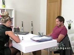 Blonde MILF In Lingerie Gets Mouthful In Casting