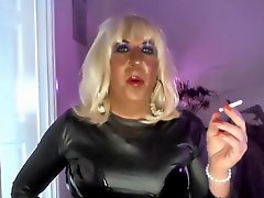 Chrissie Smoking And Wanking In Black Pvc On Webcam
